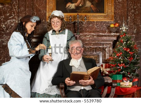 """Vintage christmas scene of a victorian family. Shot in the antique castle """"Den Brandt"""" in Antwerp, Belgium (with signed property release for the Castle interiors). - stock photo"""