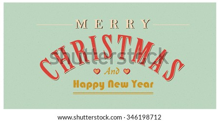 Vintage christmas sign text. retro Christmas card - stock photo