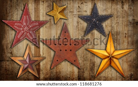 Vintage Christmas star collection on a wooden background. - stock photo