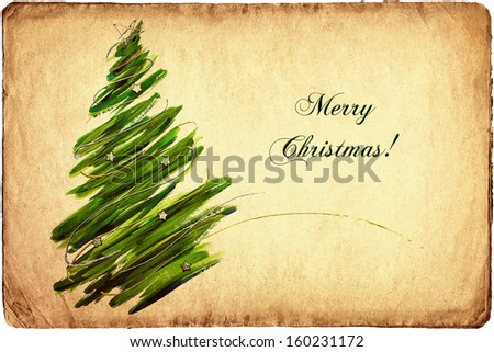 Vintage Christmas tree card  - stock photo