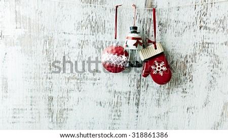 Vintage Christmas tree decorations - stock photo