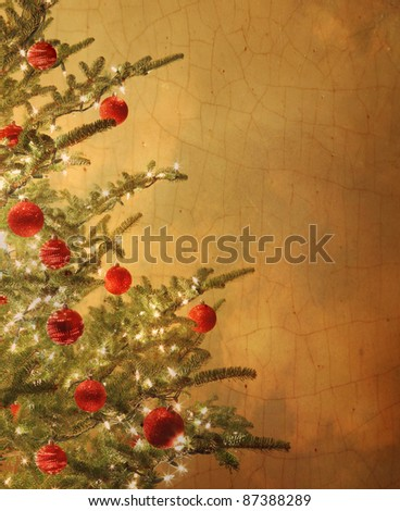 Vintage Christmas tree with red ball ornaments - stock photo