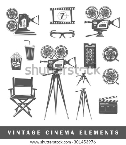 Vintage cinema elements: projector, film, 3D glasses, camera, popcorn, tripod, drink, ticket, chair, clapperboard, film strip. Set of silhouettes of a movie, isolated on a white background - stock photo