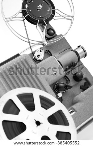 vintage cinema projector,black and white image - stock photo