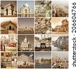 Vintage cities of the world collage - stock photo