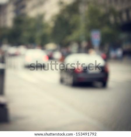 vintage city street background - stock photo
