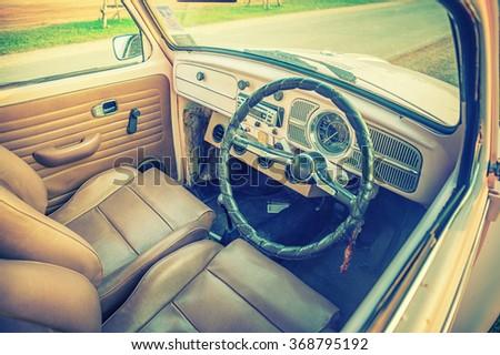 Vintage classic Car Interior, vintage effect picture - stock photo