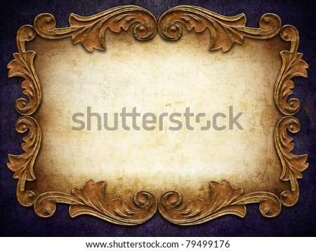 vintage classical frame on violet background - stock photo