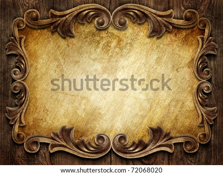 vintage classical frame on wooden background - stock photo