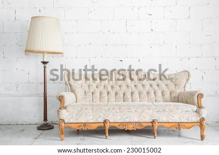 Vintage classical style Sofa bed with lamp - stock photo