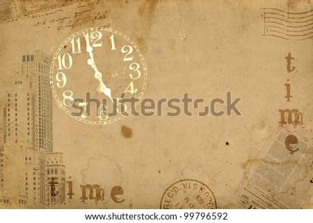 Vintage Clock Abstract Background - stock photo