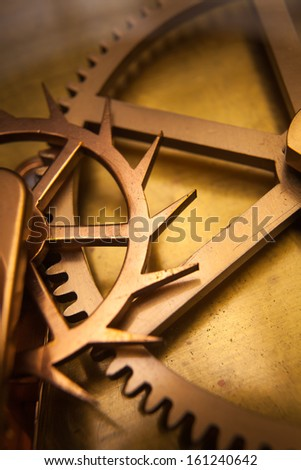 Vintage Clock Machine Cog, cooperation, teamwork and time concept - stock photo