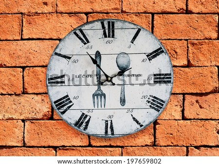 Vintage Clock, Old Clock On Brick Wall Background - stock photo