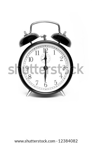 Vintage clock showing six o'clock - stock photo