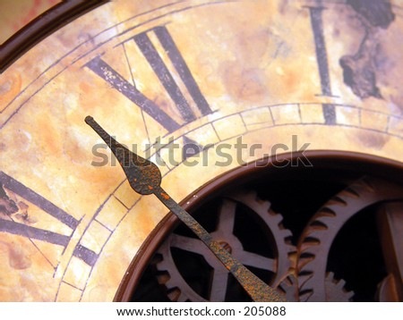 Vintage Clock with Hands - stock photo