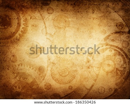 vintage clockwork background - stock photo