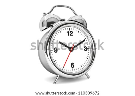 Vintage Closeup Alarm clock on the white background