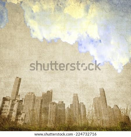 Vintage cloudy city skyline - stock photo