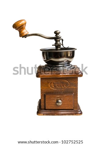 Vintage coffee mill isolated on white background