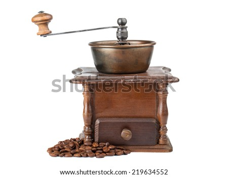 Vintage coffee mill isolated on white background - stock photo