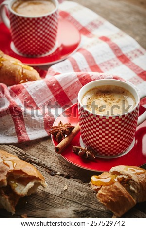Vintage coffee still life on wooden background - stock photo