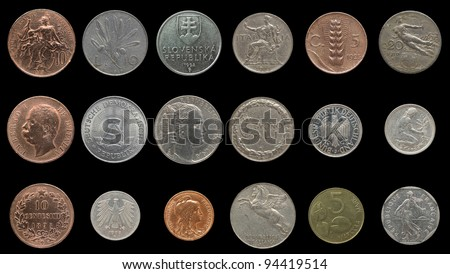 Vintage coins from European Countries including Germany, France, Italy before Euro