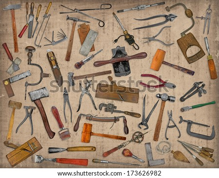 vintage collectible tools mix collage over old stain paper background - stock photo