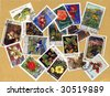Vintage collection of littered stamps with plants - stock photo
