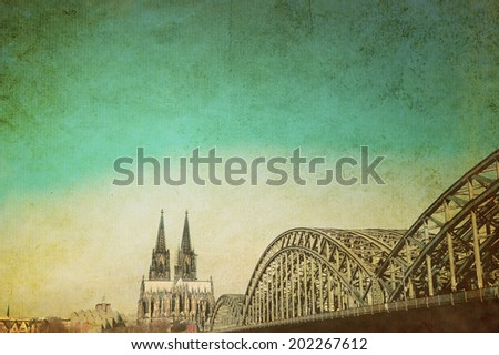 Vintage Cologne Cathedral and Bridge, Germany - stock photo