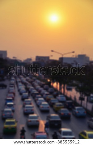 vintage color car traffic jam blur background