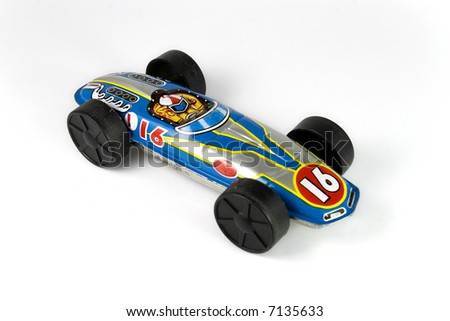 Vintage color tin race car - stock photo