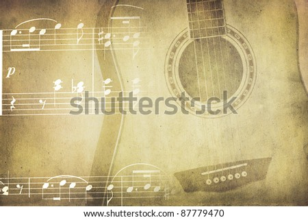 Vintage colors music background with wooden guitar and notes - stock photo