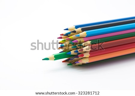 Vintage colour tone of wooden pencils on white background - stock photo