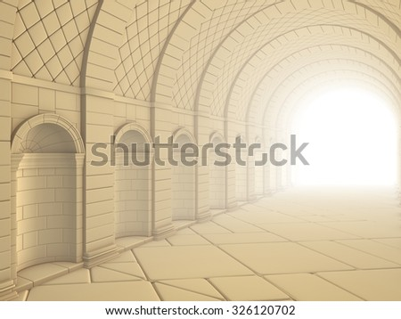Vintage Column Tunnel - stock photo
