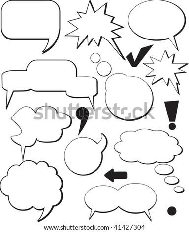 Vintage comic speech balloons. Vector. - stock photo