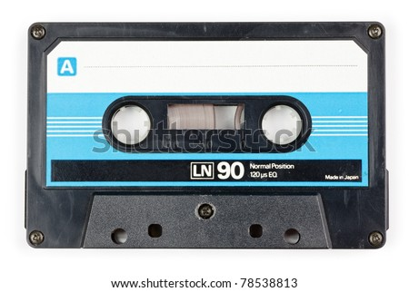 Vintage Compact Cassette on white background - stock photo