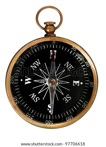 Vintage compass isolated over white background - With clipping path