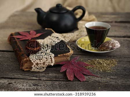 Vintage composition of teacup and old book ,autumn mood - stock photo