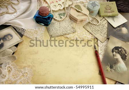 Vintage composition with pen - stock photo