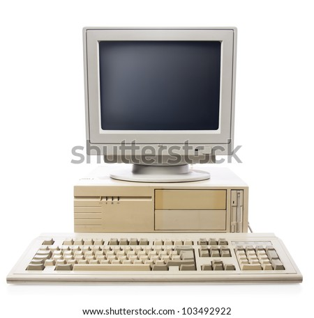 vintage computer isolated on white - stock photo