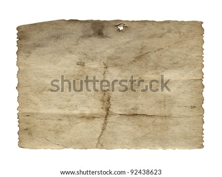 Vintage concept or conceptual old retro aged paper texture isolated on white background.Abstract damaged parchment or label, as a banner for grunge,ornament,book,letter,time,pattern or history designs - stock photo