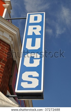Vintage convenience drugs store sign