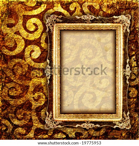 vintage cooper background with empty frame - stock photo