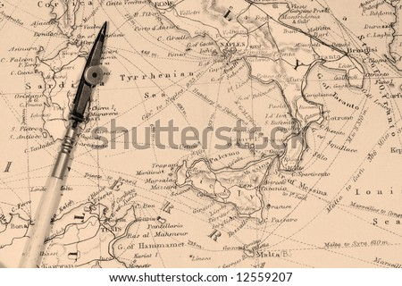 Vintage (1907 copyright-expired) map showing countries and trade routes - stock photo
