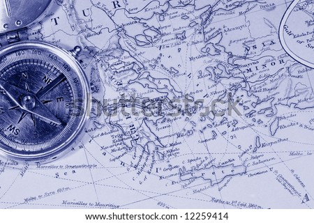 Vintage (1907 copyright-expired) map showing countries and trade routes - blue hued - stock photo