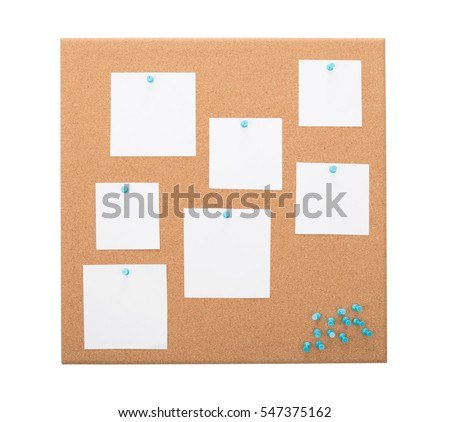 Vintage cork board with note paper - Isolated