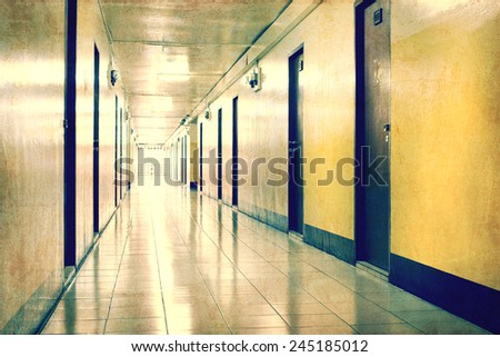 Vintage corridor and light at destination  - stock photo