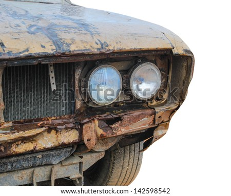 vintage corroded rusty old car - stock photo