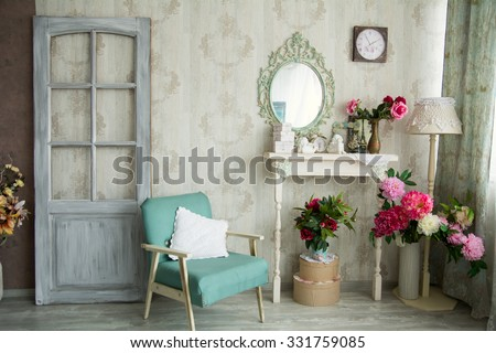 Vintage Country House Interior With Mirror And A Table With A Vase And  Flovers. Interior