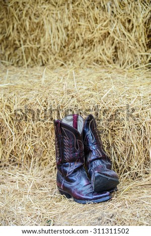Vintage cowboy boots - stock photo